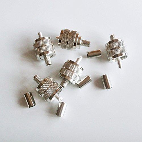 FidgetFidget 10X UHF male PL259 plug crimp for RG-8X RG8X LMR240 cable connector (Uhf Crimp Plug)
