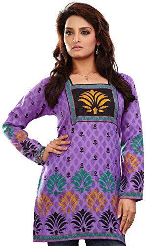 Indian Tunic Top Womens Kurti Printed Cotton Blouse India Clothes – XS…Bust 32 inches, Purple