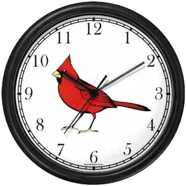 WatchBuddy Cardinal Bird Animal Wall Clock Timepieces Hunter Green Frame