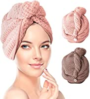 RenFox Hair Turban Towel, Dry Hair Towel Cap with Loop and Button Fastener, 2 Pack Absorbent Microfiber to Dry Hair...