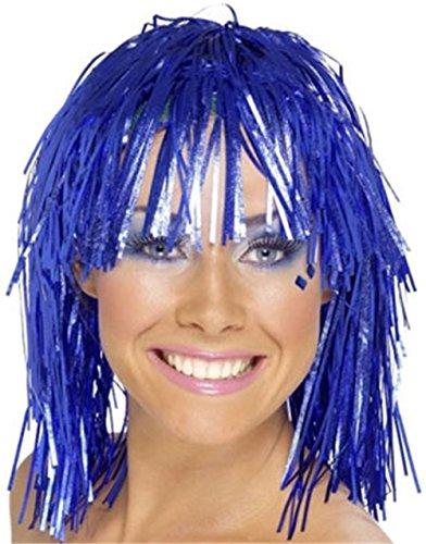Adults or Childs Economy Blue Foil Tinsel Costume Wig (Wig Tinsel Party)