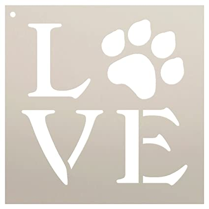 amazon com love stencil by studior12 square paw print word art