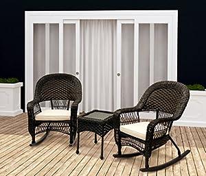 sol siesta 3 piece patio set wicker rocking chairs u0026 table - Wicker Rocking Chair