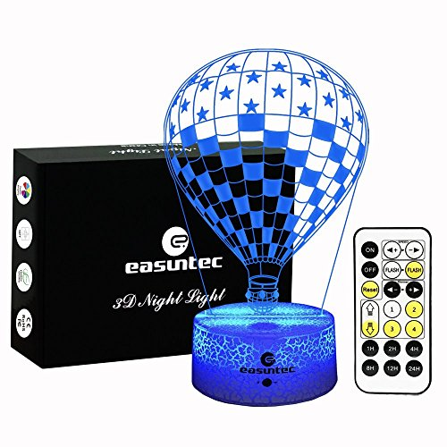 Easuntec Night Lights for Kids,Baby Night Light USA Flag Hot Balloon,7 Colors Change with Timer Remote Control,Gifts for Kids,Keep Your Kids Slept Well at Night (USA Flag Hot Balloon) by easuntec