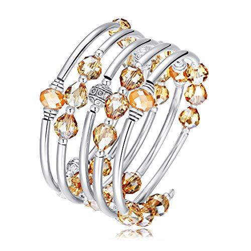 Wrap Bracelet Swarovski Around (Crystal Wrap Bangle Bracelets for Women - Fashion Boho Strand Bracelet Made with Swarovski Crystals, Bead Bracelets for Birthday, Mother's Day, Best Gifts for Women Girls)