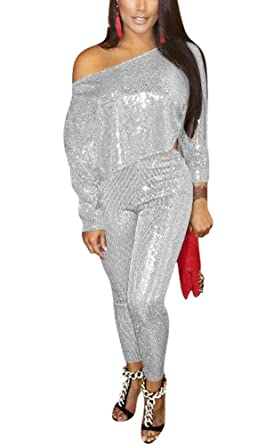 9309ca7358d4 Amazon.com  Chicmay Women Sparkly Sequins 2 Piece Outfits Off Shoulder Long  Sleeve T Shirt + Skinny Long Pants Jumpsuit Set Clubwear  Clothing