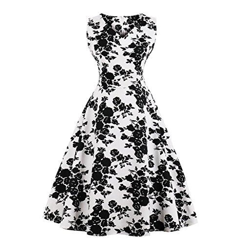 de Mujer Noche de de los V Banquete 50 Vestido con Hepburn Vestido Novia Plisado de Retro Floral en Estilo GAESHOW con Estampado para años Negro Cuello 7OnSE1TOqw