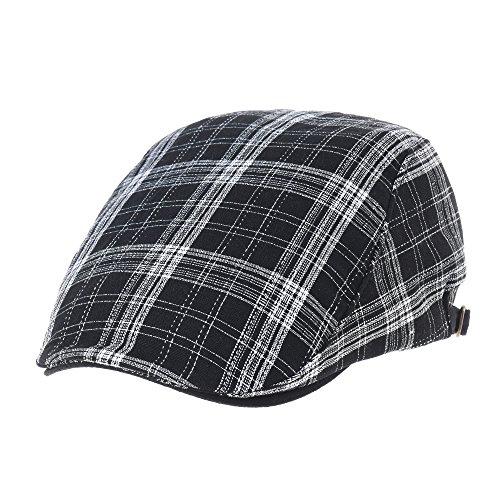 Linen Plaid Cap (WITHMOONS Summer Flat Cap Linen Plaid Check Pattern IVY Hat LD3037 (Black))