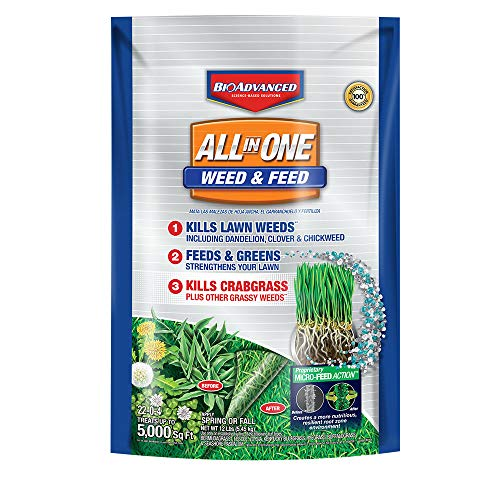 BioAdvanced All-in-One Weed & Feed with Microfeed Action, 12 Lb, 5000 sq. ft. , -