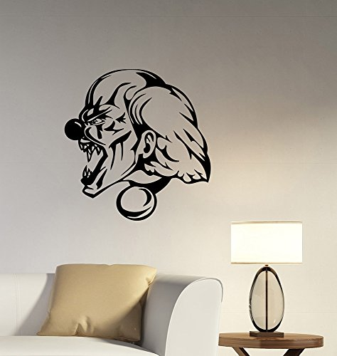 Roaring Creepy Clown Wall Sticker Scary Evil Demonic Jester Vinyl Decal Circus Character Art Halloween Decorations for Home Office Room Bedroom Horror Decor scw3