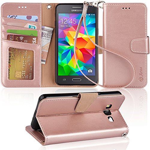 Grand Prime Case, Arae Samsung Galaxy Grand Prime wallet case,[Wrist Strap] Flip Folio [Kickstand Feature] PU leather wallet case with ID&Credit Card Pockets For Samsung Galaxy Grand Prime (Rosegold) by Arae