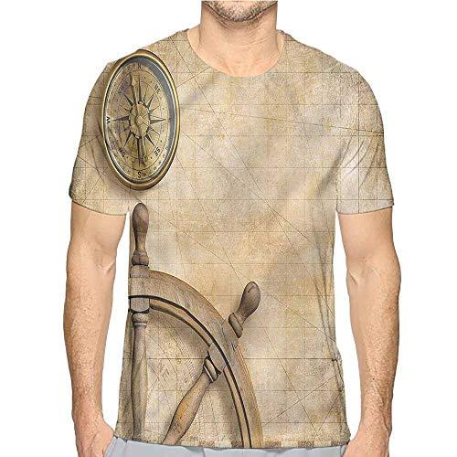 Mens t Shirt Nautical,Wooden Wheel Compass HD Print t Shirt S ()