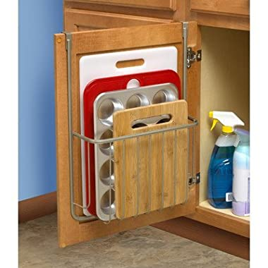 Spectrum Diversified 53677 Ashley Over-The-Cabinet Cutting Board & Bakeware Holder, Satin Nickel