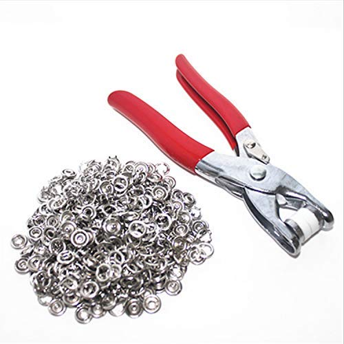 - 1/4 Grommet Eyelet Setter Plier, Hole Punch Tool Kit with 100 Silver Metal Eyelets Grommets for Making Holes in Leather/Clothes/Shoes/Fabric/Belts etc