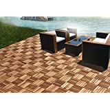 CAMP 5 slats Acacia Deck tile | Patio Tiles | Wood Deck Flooring |Suitable for indoor and outdoor applications 1' x 1' pack of 10 pcs