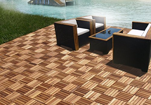 CAMP 5 slats Acacia Deck tile | Patio Tiles | Wood Deck Flooring |Suitable for indoor and outdoor applications 1' x 1' pack of 10 pcs | Golden Teak Finishing