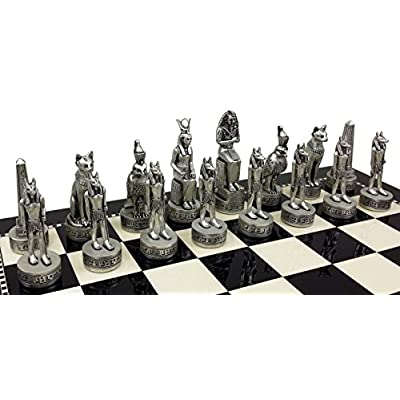 HPL Egyptian Anubis Gold & Silver Antiqued Chess Men Set - NO Board: Toys & Games