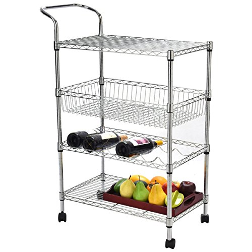 PROSPERLY U.S. Product 4-Tier Steel Rolling Kitchen Trolley Cart Island Wire Rack Basket Shelf Stand