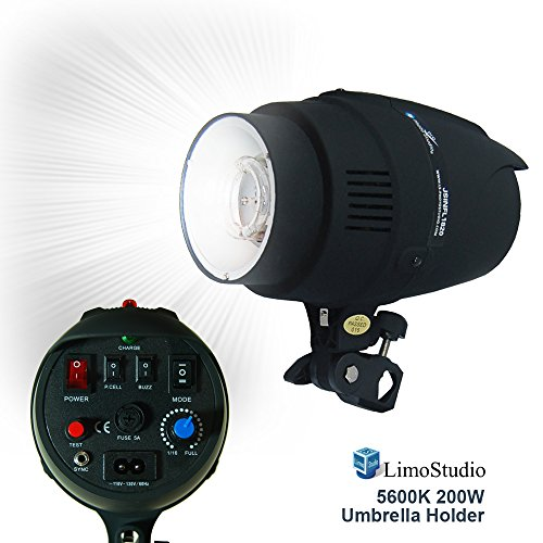 LimoStudio 200 Watt Digital Strobe Flash Light with Umbrella Reflector Insertion Hole, Modeling Photographic Flash, Wire Sync Cable, Photo Studio, AGG1907 by LimoStudio