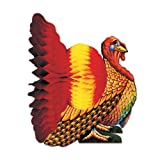 Beistle 1-Pack Decorative Tissue Turkey Centerpiece, 12-Inch