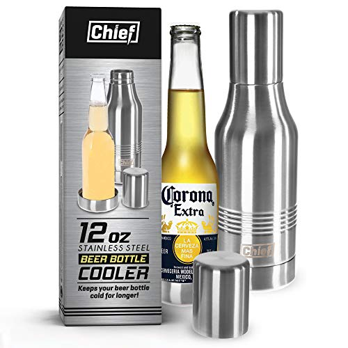 Beer Bottle Insulator - Double Wall Stainless Steel Beer Bottle Cooler. Great Gift. BPA Free. With Bonus E-book and Gift Box.Box.