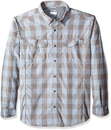 Columbia Men's Silver Ridge Plaid Long Sleeve Shirt, Steel Heathered Plaid, 1X by Columbia
