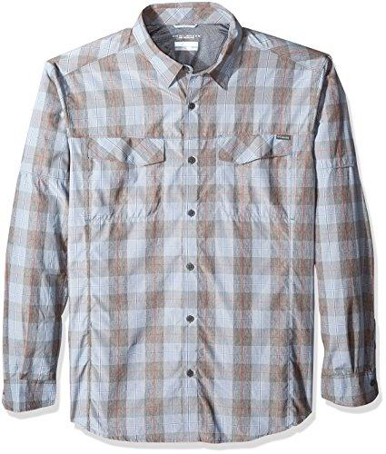 Columbia Men's Silver Ridge Plaid Long Sleeve Shirt, Steel Heathered Plaid, Large