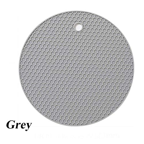 18cm Round Heat Resistant Silicone Trivet Mat Cup Coasters Non-slip Pot Holder Table Placemat for Kitchen and hot Dishes,Non Slip, Flexible, Durable, Dishwasher Safe Pot Holder Color Mixed (grey)