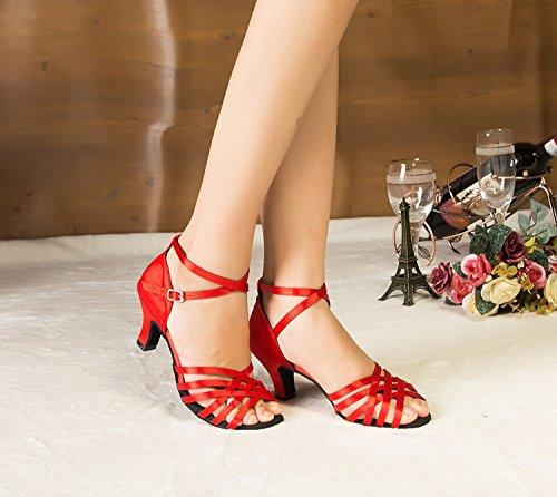 de caractères Latin Minitoo red Découpe Chaussures femme danse Satin wzZXZE