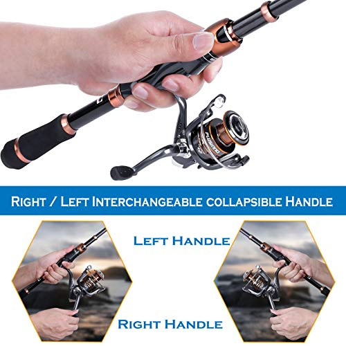 PLUSINNO Telescopic Fishing Rod and Reel Combo, Carbon Fiber Fishing Pole with 12 +1 Shielded Bearings Stainless Steel BB Spinning Reel Combo, Saltwater Freshwater Fishing Rod Pole Gear Kit