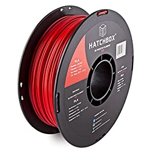 HATCHBOX 3D PLA-1KG3.00-RED PLA 3D Printer Filament, Dimensional Accuracy +/- 0.03 mm, 1 kg Spool, 3.00 mm, Red by HATCHBOX