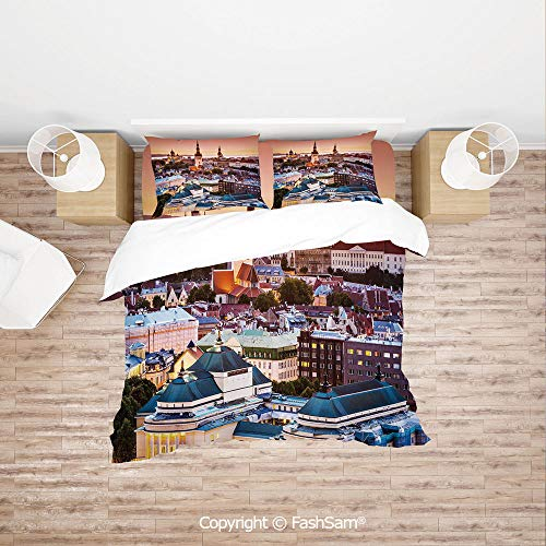 FashSam Duvet Cover 4 Pcs Comforter Cover Set Tallinn Estonia Old City Aerial View Dusk Sunset Cathedrals Tourist Attraction Decorative for Boys Grils Kids(Queen)
