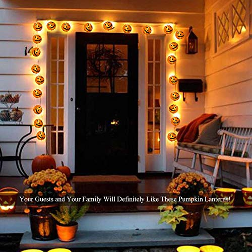WmBetter Pumpkin String Lights Detachable Polyester Halloween Pumpkin Lanterns with 10 LED lights for Halloween Decoration by Wmbetter (Image #4)