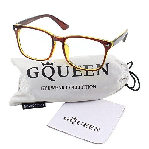 Brown PE2 cadre lunettes surdimensionné GQUEEN transparentes clair corne Grand Gold xpna8wqg1