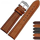 Zhuolei Genuine Cowhide Leather Strap with Pin Clasp Common Used 18/20/22/24mm 6 Colors (22, Light Brown-white stitching)
