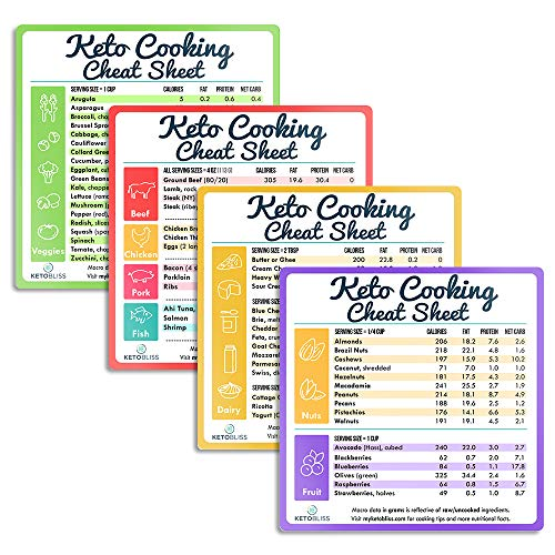 Keto Cheat Sheet Magnets for Cooking, Set of 4 Keto Magnet - Great Fridge Magnet Reference Keto Foods List Guide for Keto Diet, Weight Loss, Keto Cookbook, and Meal Plan (Food Guide, 4) (La Weight Loss Purple Plan Food List)