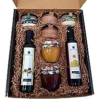 Cesta regalo gourmet con aceite oliva virgen extra, vinagre D.O. Jerez y patés de La Chinata, mermelada natural artesana…