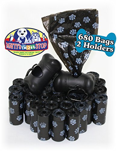 Matty's Pet Stop 680 Count (34 Rolls) Unscented Dog Waste/Poop Bags with 2 Dispensers - Black Paw Print Design (Black Bags Pet)