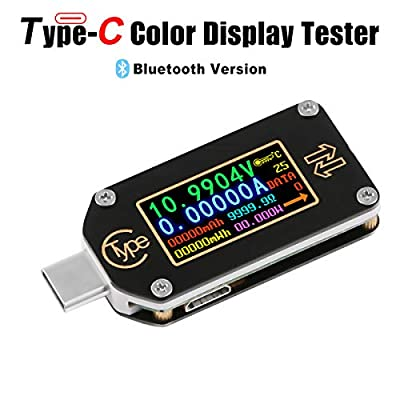 USB Multimeter Meter Tester Bluetooth Voltmeter Ammeter USB Voltage Current PD Battery Power Capacity Charger Digital Type C Meter Tester Color LCD Display Cable Resistance