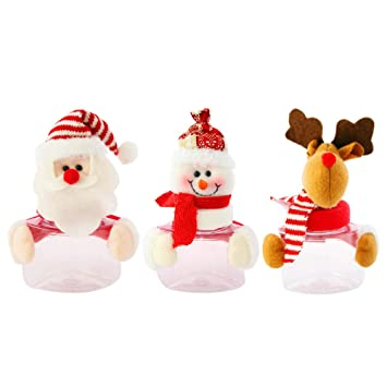 BESTOYARD 3pcs Christmas Candy Jar Creative Plastic Christmas Jars Candy Chocolate Gift Boxes Bottle Xmas Decor