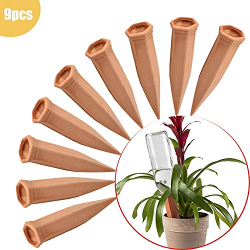 (FAMILy Plant Watering Stakes 9 Pack Automatic Plant Waterers for Vacations, Plant Watering Devices Terracotta Self Watering Spikes for Wine Bottles Great Plant Nanny for Indoor & Outdoor Plants)