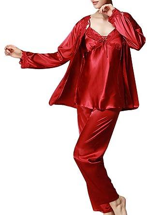 52569536c3 Foucome Women s Long Sleeves Pajama Sets Satin Silk Lace Stitching Pyjamas  With Belt Three Piece Set