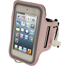 iGadgitz Pink Reflective Anti-Slip Neoprene Sports Gym Jogging Armband for Apple iPod Touch 6th Generation (July 2015 onwards) & 5th Generation (2012-2015)