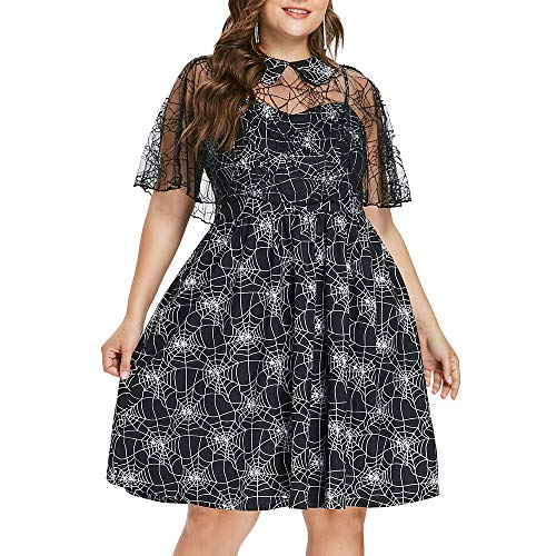 CharMma Women's Plus Size Spider Web Print Halloween Dress with Sheer Mesh Cape (Black, 14)