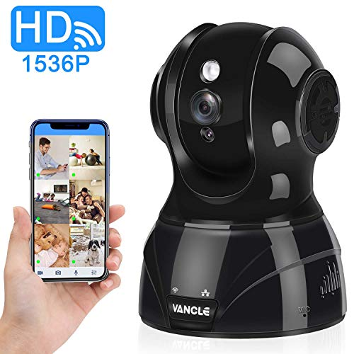 Vancle Wireless IP Camera 1536p HD with Motion Detection Night Vision Two Way Audio Pan Tilt Zoom Supports 2.4G WiFi for Home Surveillance Baby Pet Monitor, Compatible with Alexa 1536P – Black