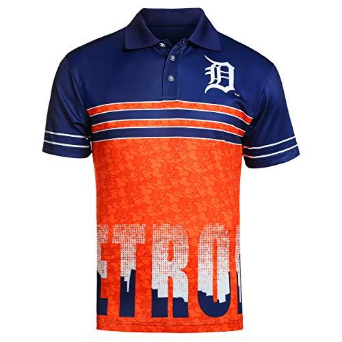 FOCO MLB Detroit Tigers Raglan Poly Polo Skyline Extra Large