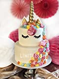 LIMITLESS Unicorn Cake Topper Handmade 5 Piece Set (Set Includes: 1 Horn, 2 Ears, and 2 Eyelashes). Unicorn party decoration for birthday party, wedding and baby shower.