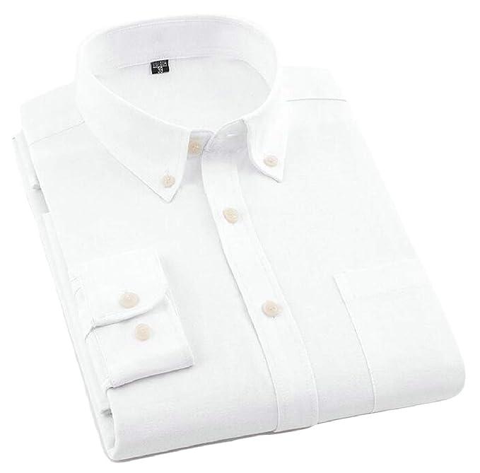 f4dd9b5af0df ONTBYB Mens Oxford Dress Shirts Solid Long Sleeve Casual Button Down Shirts  1 XS