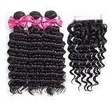 Brazilian virgin hair Deep Wave 3 Bundles With Free Part Closure 7A Grade 100% Unprocessed Human Hair Bundles (Beautiful Natural Curl) (14 16 18 +12)