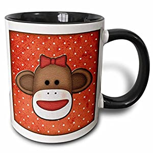 3dRose (mug_102831_4) Cute Sock Monkey Girl - Two Tone Black Mug, 11oz